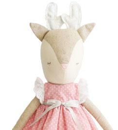 Poupée Biche avec bois argent et robe rose pois blancs Alimrose