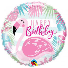 Ballon métallique rond flamant rose Happy Birthday