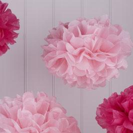 Ensemble de 5 pompons en papier de soie rose