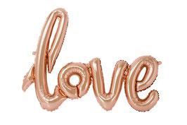 """Ballon métallique """"Love"""" rose doré 75cmsX55cms"""