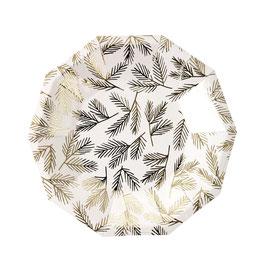 8 petites assiettes octogonales avec feuillage doré Meri Meri