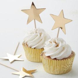 10 piques à gâteaux étoiles dorées