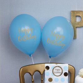 """8 ballons bleus écriture """"Happy Birthday"""""""