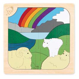 Puzzle Moutons et arc en ciel fabriqué en bois Hape toys