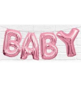 """Ballon métallique rose pastel écriture """"Baby"""" en majuscule"""
