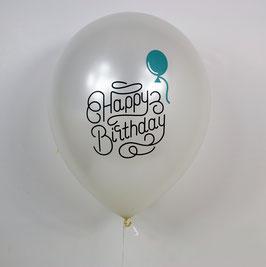 """5 ballons blancs métallisés imprimés """"Happy birthday"""" avec ballon vert"""