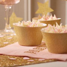 10 Habillages caissettes gâteaux paillette or