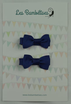 LOT 2 BARRETTES NOEUD TAILLE 4.5CMS COULEUR MARINE