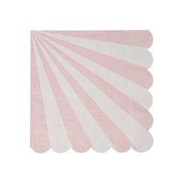 20 petites serviettes rayures rose pastel et blanc Meri Meri