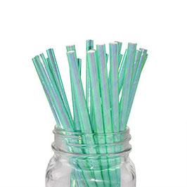 10 Pailles en papier irisées vert menthe