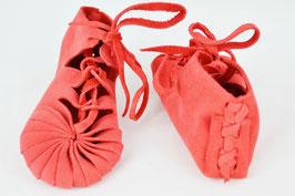 chaussures bébé fille cuir lacées coloris rouge vif