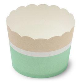 25 cupcakes vert menthe blanc beige