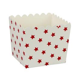 6 Petits pots blancs avec étoiles rouges pour bonbons ou friandises