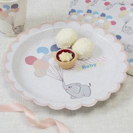 """8 assiettes plates """"Petit éléphant"""""""