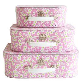 3 valises en carton roses avec fleurs blanches Alimrose