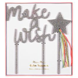 """Décoration gateau """"Make a wish"""" acrylique pailleté argent Meri Meri"""