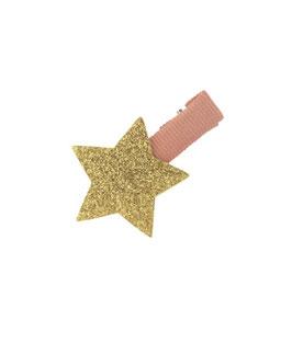 Petite Barrette pince vieux rose étoile dorée