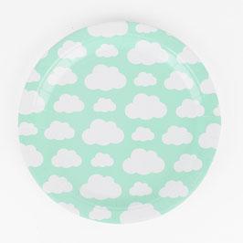 8 assiettes vert menthe avec nuages blancs My little day