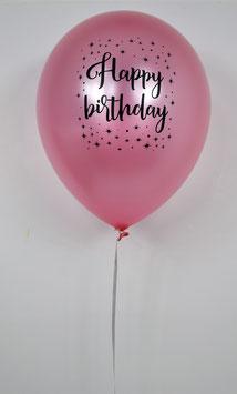 """5 ballons rose clair métallisés imprimés """"Happy birthday"""" avec étoiles"""