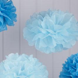 5 pompons bleus en papier de soie