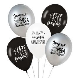 """5 ballons """"Joyeux anniversaire"""", blanc, noir, argent"""