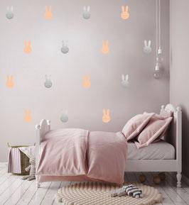 Stickers muraux lapins rose poudré et argent Pom le bonhomme