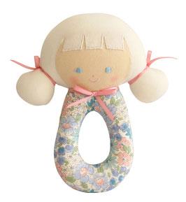 Hochet rond poupée Audrey fleurs pastels Alimrose