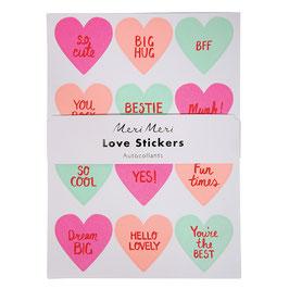 10 planches de stickers coeurs Meri Meri