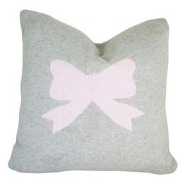 Coussin en tricot gris chiné noeud rose