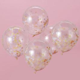 5 ballons transparents avec confettis étoiles pastels