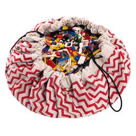 Sac de rangement et tapis de jeu zig zag rouge et blanc Play and go