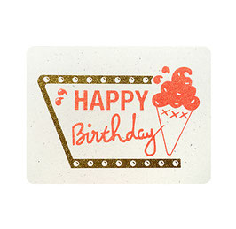 "Carte ""Happy Birthday "" écriture pailletée orange et or"