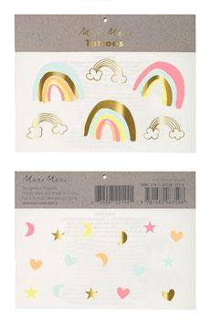 2 planches de tatouages arc en ciel et motifs pastels
