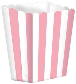 6 petites boites pop corn rayées rose et blanches