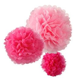 Ensemble de 3 pompons en papier de soie rose