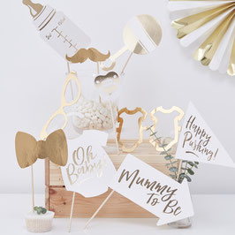 Kit photobooth blanc et or pour baby shower