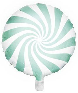 Ballon Sucre d'Orge Rond Vert Menthe en Aluminium