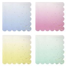 16 serviettes dégradées pastel avec paillettes dorées Meri Meri