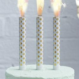 3 bougies fontaines blanches pois dorés pour gâteau