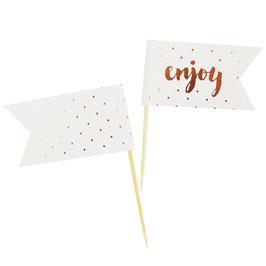 """12 piques gateau écriture """"enjoy"""" et pois rose gold"""