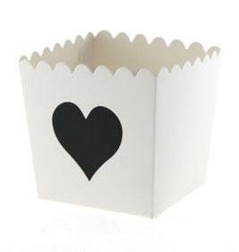 6 Petits pots fond blanc coeur noir pour bonbons ou friandises