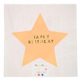 16 grandes serviettes blanches avec étoile et écriture Happy birthday doré Meri Meri