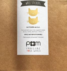 Stickers muraux chats dorés Pom le bonhomme