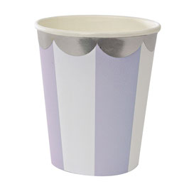 8 gobelets en carton rayés lavande et blanc Meri Meri