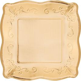 8 petites assiettes carrées dessin en relief dorées