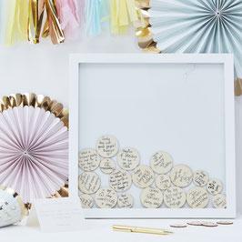 Cadre livre d'or en bois avec ronds pour messages
