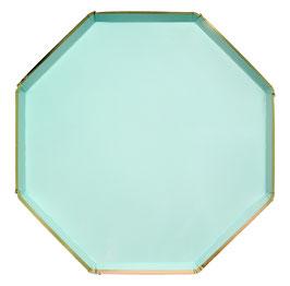 8 grandes assiettes octogonales vert menthe liseré doré 25 cms meri meri