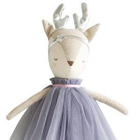 Poupée Biche Angelica robe grise bois argent Alimrose