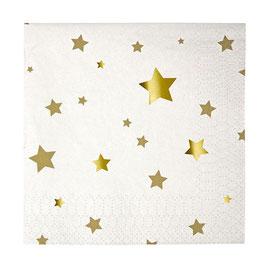 20 Petites Serviettes étoiles dorées Meri Meri