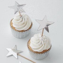 10 piques à gâteau étoiles argent